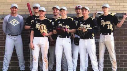 SENIORS who are ready to play baseball for Excelsior Springs, if the coronavirus clears up in time, are as follows: front row, from left, Brennan Jones, Wyatt Jarvis and Jett Rivera; second row, head coach Aaron Holst, Ryan Nedblake, Brandon Gluhm, Jacob Leonhard and Jakob Pekarek.