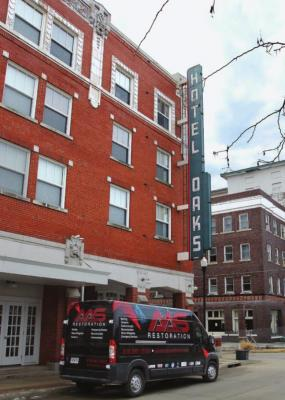 CONFINED by sprinklers to part of one apartment, a Feb. 12 fire takes a life at Hotel Oaks, 117 South St., downtown Excelsior Springs. J.C. VENTIMIGLIA | Staff