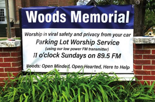 WOODS MEMORIAL offers social distancing church services, via radio, in the parking lot.