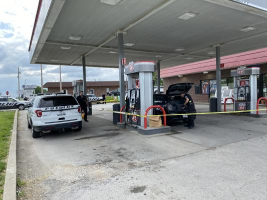 Police investigate a shooting at an Excelsior Springs Gas Station Wednesday afternoon