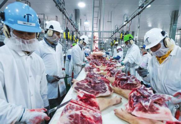 MEAT PROCESSING resumes at the plant shortly after employee tests positive for COVID-19. PRESTON KERES | U.S. Department of Agriculture