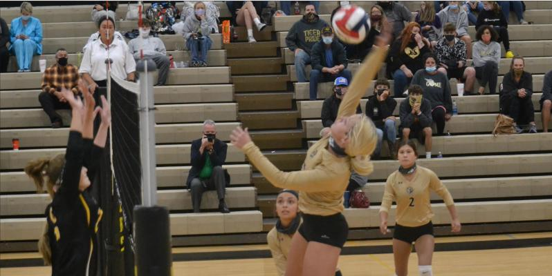 DUSTIN DANNER | Staff JUNIOR RYLI STOTTLEMYRE goes up high to pick up a kill for Excelsior Springs Sept. 8 against visiting Cameron in non-conference action.