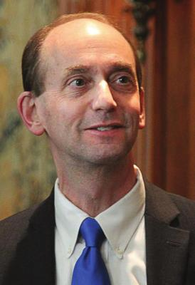 MISSOURI Auditor Tom Schweich prepares to address Missouri Press Association members in Jefferson City on Feb. 12, 2015. One year later, he commits suicide.
