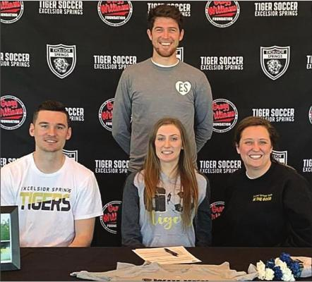 DUSTIN DANNER | Staff LADY TIGER soccer player Mackenzie Kincaid signed a National Letter of Intent to continue her education and soccer career at Metropolitan Community College-Blue River. Kincaid will major in radiology. She is accompanied at the signing by Tiger soccer coaches Brett McKenzie, Zac Ganzer and Katrina Yoakum.