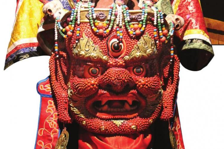 THIS JAMESIAN TSAM MASK is of the type worn at festivals to exorcize demons. In the rituals of the Mongolian Tsam festival, shamanistic traditions of dance merged in harmonious fashion. This mask dates to the 1930s.