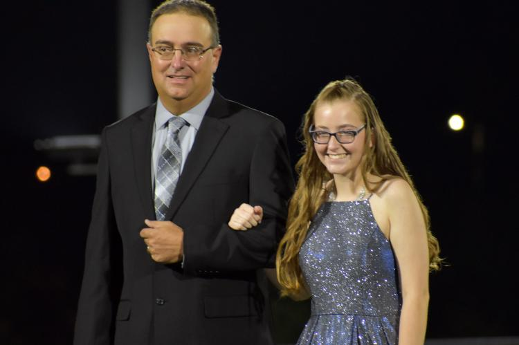 Senior princess candidate Emily Crowley is escorted by her father, Stephen Crowley. (Photo by Christi Rice)