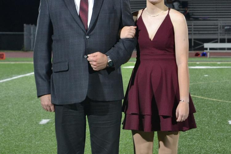 Freshman candidate Emily Rice with her father, Brian Rice. (Photo by Jae Juarez)
