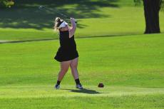 HOPE CHAPPEL hits off the second tee at the Class 2 District 4 Tournament. DUSTIN DANNER | Staff