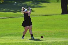 EXCELSIOR SPRINGS senior Hope Chappel, seen here teeing off earlier this season, finishes her high school girls golf career with a top-50 finish at the Class 2 state tournament. FILE PHOTO