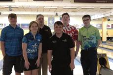 BOWLERS EARNING scholarship money are, front row, from left, Sydney Whitfield and Josh Oldham; and back row, Ryan Gluhm, Austin Rucker and Nicholas Hays. Also pictured is coach Dewayne Day.
